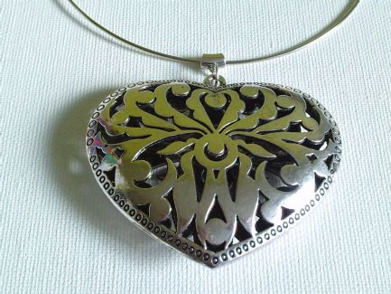 Massive Filigree heart choker